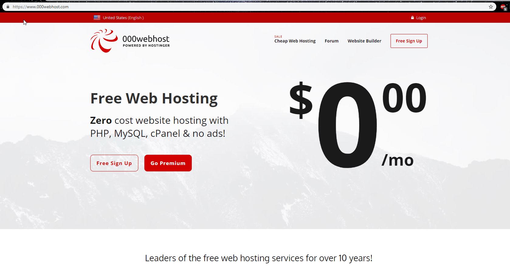 000WebHost - أفضل إستضافة مجانية