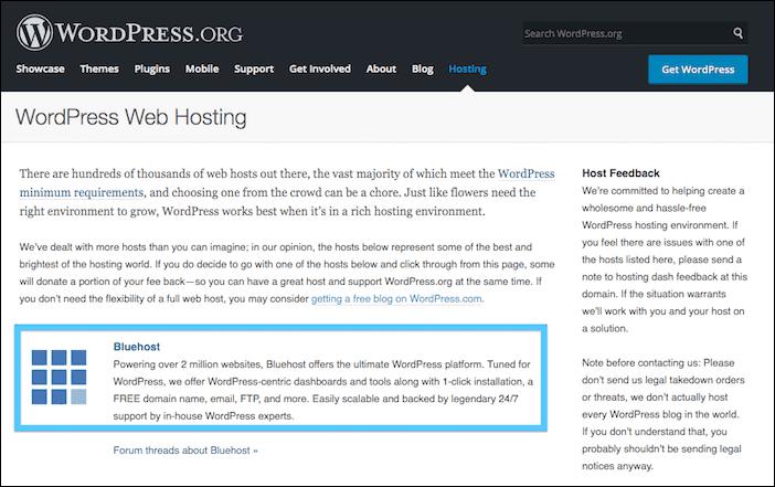 موقع وردبريس يوصي باستخدام استضافة بلوهوست